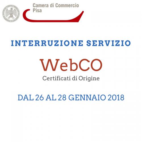 Interruzione servizio WebCO