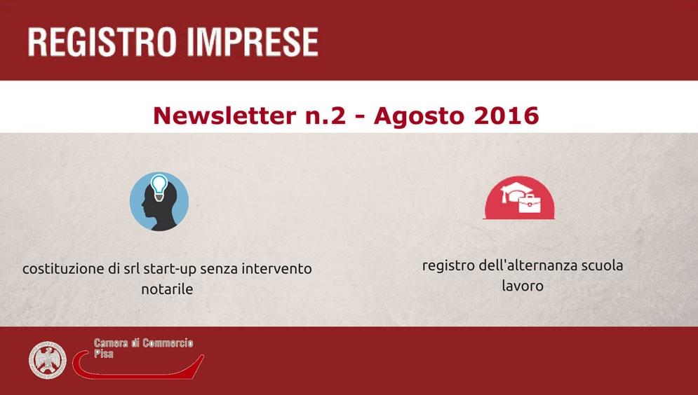 Newsletter Registro Imprese numero 2 agosto 2016