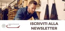 Iscrizione alla newsletter della Camera di Commercio di Pisa. Ragazzo al laptop nel suo laboratorio