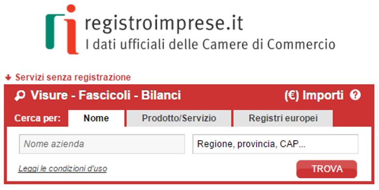 Visure utenti non registrati